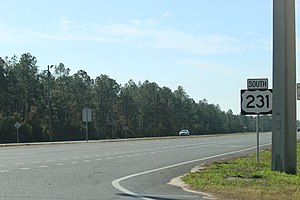 U.S. Route 231 in Florida - Looking south at US 231 north of Panama City