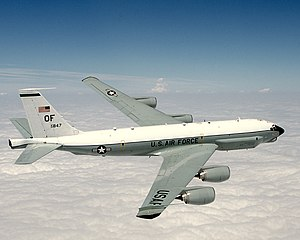 Boeing RC-135 - Combat Sent aircraft in flight with its unique nose cone, wingtips, and tail