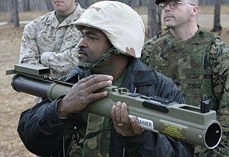M72 LAW - M72A7 firing trainer, showing Picatinny rail