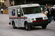USPS vehicle advertising E85 alcohol fuel, Saint Paul, Minnesota