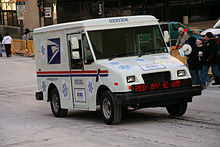 USPS truck with LED sign advertising E85
