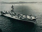 USS Boxer (LPH-4) at anchor off Vieques Island on 5 December 1966 (USN 1125049)