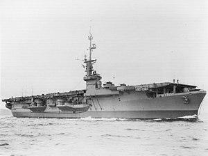 USS Cape Gloucester - Image: USS Cape Gloucester (CVE 109) underway in 1945