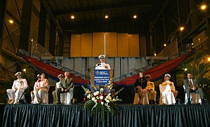 Keel laying - Keel laying ceremony for USS Freedom (LCS-1), 2005. Note the pre-fabricated module in the background.
