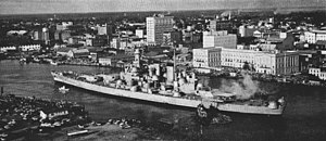 USS North Carolina (BB-55) - North Carolina arriving under tow in Wilmington in 1961.