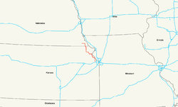Karte des U.S. Highways 73