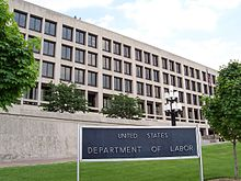 Color photograph of the United States Department of Labor building