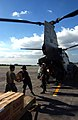 US Navy 041210-M-1188A-006 U.S. Marines and Philippine service members load boxes of bottled water into a CH-46E Sea Knight helicopter.jpg