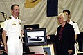 US Navy 050821-N-7281D-095 Commanding Officer, USS Ronald Reagan (CVN 76), Capt. James Symonds, presents Santa Barbara Mayor, Marty Blum, an award photo of USS Ronald Reagan.jpg