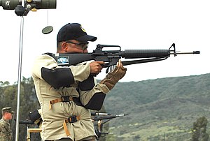 High power rifle - Shooting in standing position at 500 yards (457.2 meters) at the 2006 Fleet Forces Command (Pacific) Rifle and Pistol Championships, where U.S. Sailors, Marines, Coast Guardsmen and civilians competed in team and individual divisions during an annual marksmanship competition.