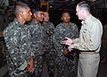 US Navy 071218-N-3925A-001 Command Master Chief William Steele briefs the capabilities of the amphibious transport dock USS Cleveland (LPD 7) to enlisted members of the Maldives National Defense Force.jpg