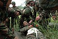 US Navy 090806-N-8539M-202 Royal Brunei Land Force soldiers and U.S. Marines load a simulated mudslide victim onto a stretcher.jpg