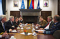 US Navy 101005-N-5549O-044 Secretary of the Navy (SECNAV) the Honorable Ray Mabus engages in a roundtable discussion with Belgian Minister of Defen.jpg
