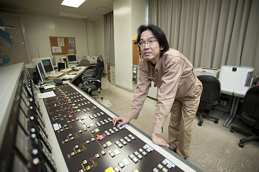 US Navy 110328-N-OJ170-009 Hideji Kawasaki operates the supervisory control and data acquisition (SCADA) system to balance an electrical load insid