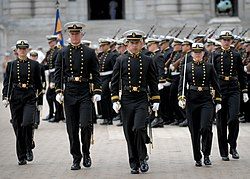 US Navy 110413-N-OA833-002 U.S. Naval Academy Midshipman march through Tecumseh Court during a formal parade on the school's campus.jpg
