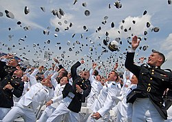 US Navy 110527-N-OA833-014 Newly commissioned Navy and Marine Corps officers toss their hats during the U.S. Naval Academy Class of 2011 graduation.jpg