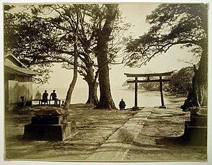 Ueno Hikoma - Torii and lake. Albumen silver print, between 1860 and 1900.