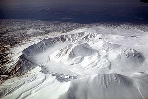 Ugashik-Peulik - Aerial view, looking southwest, of Ugashik caldera adjacent to Peulik volcano.