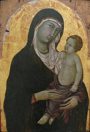 Ugolino di Nerio - Virgin and Child, 1315–1320, Sienne. Notice the Pseudo-Kufic inscriptions on the veil of the Virgin.