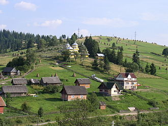 Carpathian Ruthenia - August 2006 view from Kamianka-Buzka-Skole-Volovets railroad
