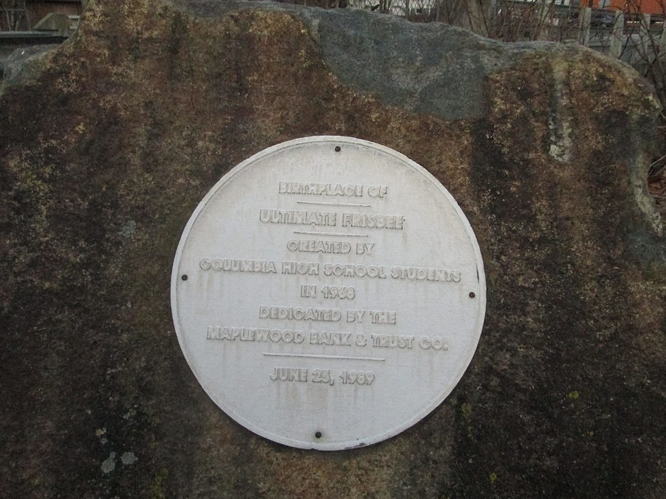 Ultimate Frisbee Birthplace Plaque, Maplewood, NJ