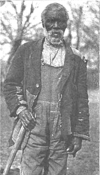 "Benjamin Ogle Tayloe - ""Uncle"" Jim Lawson, an African American born into slavery and owned by Benjamin Ogle Tayloe. He was moved from Maryland to the Windsor plantation in Alabama around 1845. This photo depicts him at age 94 in 1915, still working on the Tayloe estate."