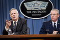 Under Secretary of Defense Robert Hale and Lt. Gen. Mark Ramsay, Director, Force Structure, Resources and Assessment, Joint Staff, brief the press at the Pentagon, April 10, 2013 (Pic 2).jpg