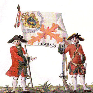 Saint Patrick's Saltire - Uniform and colonel's flag of the Regiment of Hibernia in Spanish service, mid-18th century
