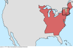 Map of the change to the international disputes involving the United States in central North America on June 4, 1777