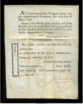 Upper Appomattox Canal Navigation System - Stock Certificate on Vellum.