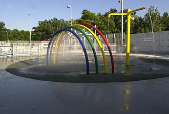 Splash pad - Urban beach style splash pad located within the municipal swimming baths of Toronto's High Park