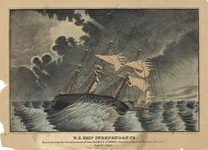 USS Independence (1814) - Lithograph of U.S. Ship Independance (sic) struck by a squall off the coast of America, Sept. 8, 1842. Razee, bearing the broad pennant of Com. Charles Stewart.