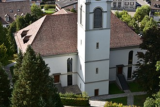 Uster Reformed Church - the small park as seen from the Uster Castle