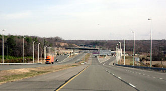 Virginia State Route 895 - Eastbound SR 895 approaching the highway's single toll plaza