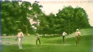 English: postcard of golfers on the green at V...