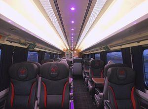 British Rail Mark 4 - The interior of First Class aboard a Virgin Trains East Coast refurbished Mark 4 FO vehicle