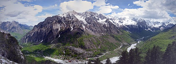 The Albanian Alps are an extension and simultaneously the highest section of the Dinaric Alps.
