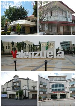 Clockwise from top-left: Hall of Justice; Pío Valenzuela Residence; People's Park; San Diego de Alcala Church; Valenzuela City Hall
