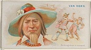 Nicholas van Hoorn - Image: Van Horn, Striking Down a Coward, from the Pirates of the Spanish Main series (N19) for Allen & Ginter Cigarettes MET DP835000