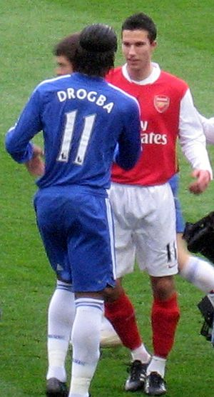 Didier Drogba - Drogba and Arsenal striker Robin van Persie in 2008