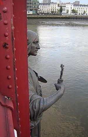 Alfred Drury - Fine Art, herself holding a statue, Vauxhall Bridge