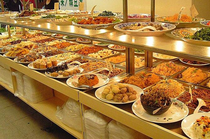 Taiwanese style vegetarian buffet. Taipei, Taiwan