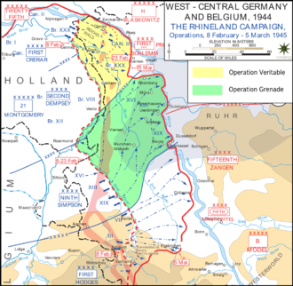 Operation Veritable - Operations Veritable and Blockbuster (yellow) and Grenade (green)