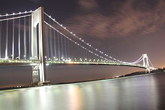 Verrazzano-Narrows Bridge, as seen from Brooklyn at night