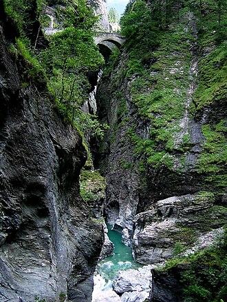 Viamala - Viamala with the two generations of bridges visible