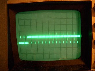 Analog television - Beginning of the frame, showing several scan lines; the terminal part of the vertical sync pulse is at the left