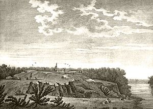 Fort Rosalie - Drawing of Fort Rosalie, on the Natchez bluff, above the Mississippi River, date unknown