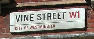 Vine Street, London - Sign at the western end of Vine Street
