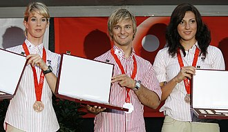 Austria at the 2008 Summer Olympics - Violetta Oblinger-Peters (left), Ludwig Paischer (center) and Mirna Jukić (right)