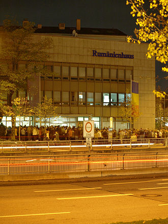 Romanian presidential election, 2014 - First round of the presidential election at the Romanian General Consulate in Munich. A large gathering of people waiting in line, before the ballots closed.